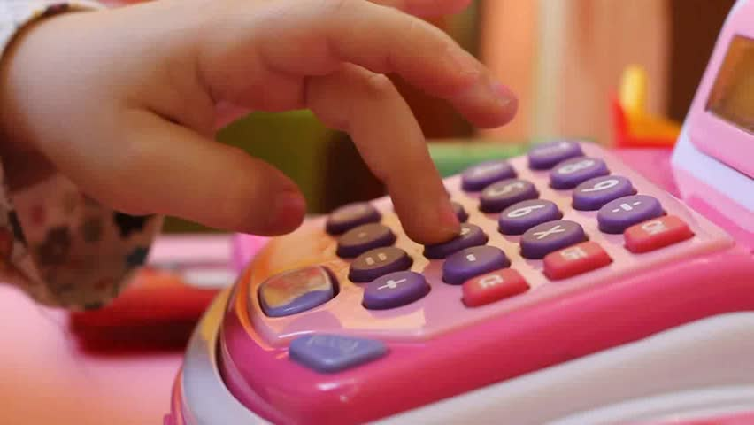 Small kid playing with cash register | Shutterstock HD Video #6123329