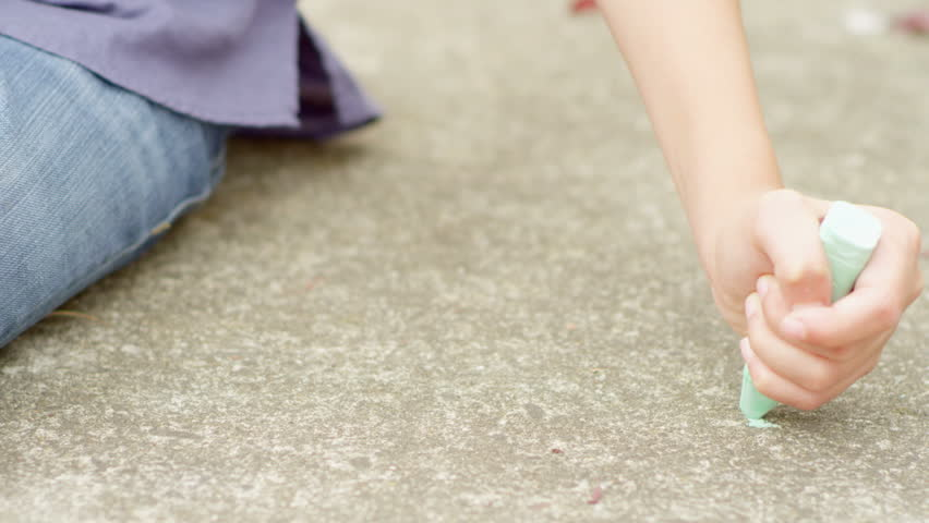 Close up of chalk being drawn on the ground, in slow motion | Shutterstock HD Video #6126389