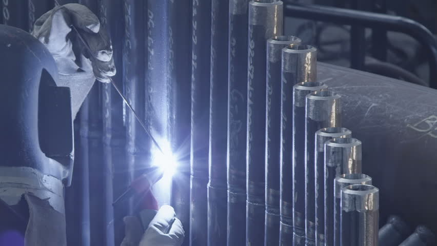 Precise welding by gas tungsten arc welding. | Shutterstock HD Video #6134759