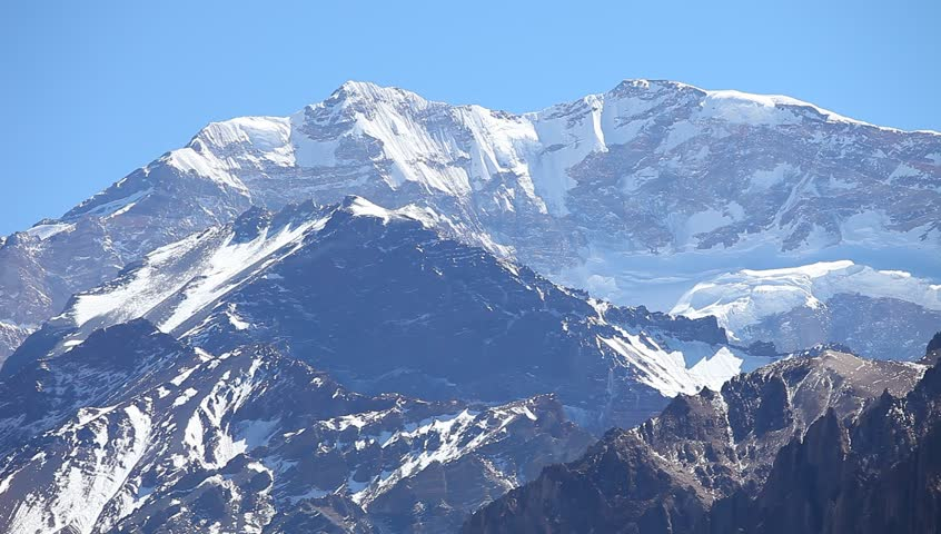 View of the South face of Aconcagua pick from the entrance of the park. Aconcagua Provincial Park, Mendoza, Argentina, South America.