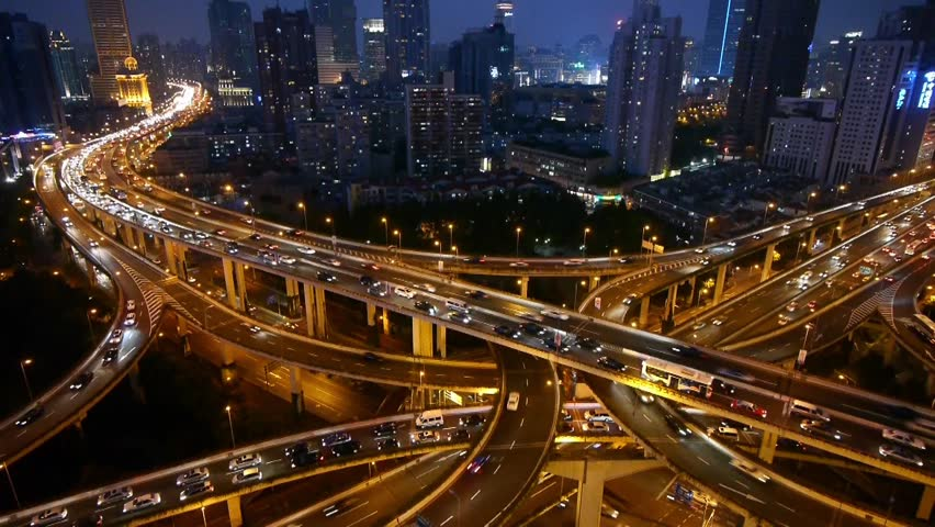 Aerial View of freeway busy city rush hour heavy traffic jam highway,shanghai Yan'an East Road Overpass,Timelapse of driving & cars racing by with streaking lights trail at night. gh2_07405