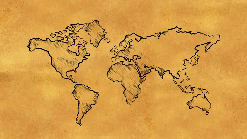 World map stock footage video shutterstock world map sketch on old paper looping animation gumiabroncs