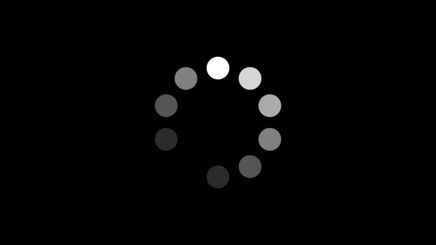 Loading Circle w/ Alpha (60fps). Ten animated dots fading in and out in sequence creating a rotating effect. Rendered large with an alpha channel to layer on top of other elements and footage. #6183929