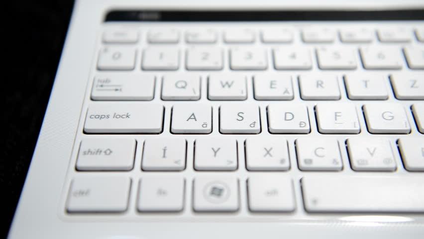 Keyboard of a notebook computer  closeup