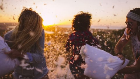 Friends having Pillow fight at sunset