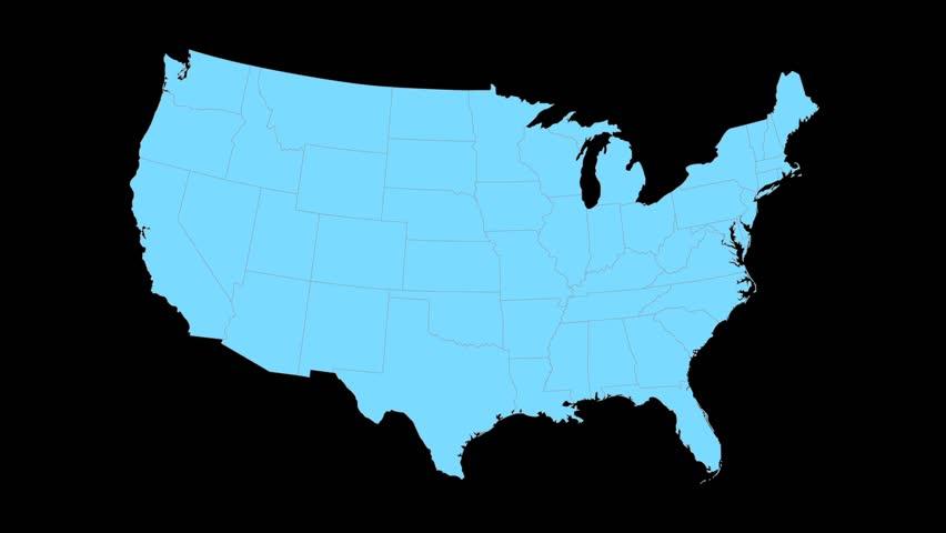 Nebraska Animated Map Video Starts With Light Blue USA National - Nebraska on us map