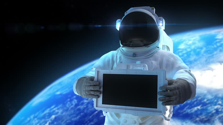 """Astronaut with display. Animation of astronaut with the electronic display. Inside file matte mask, 3d trackers, and signs """"Welcome"""", """"For Sale"""", """"Sale"""", """"Best Price"""""""
