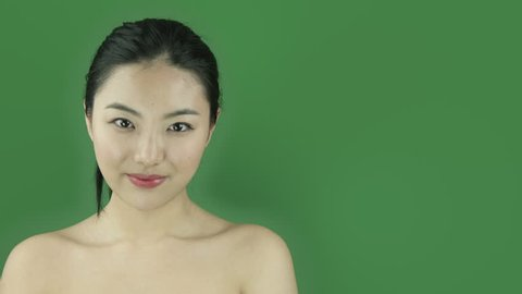 Asian girl naked beauty young adult isolated greenscreen green background