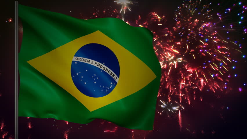 Flag of Brazil with spectacular fireworks display in the background