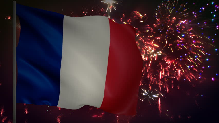 Flag of France with spectacular fireworks display in the background