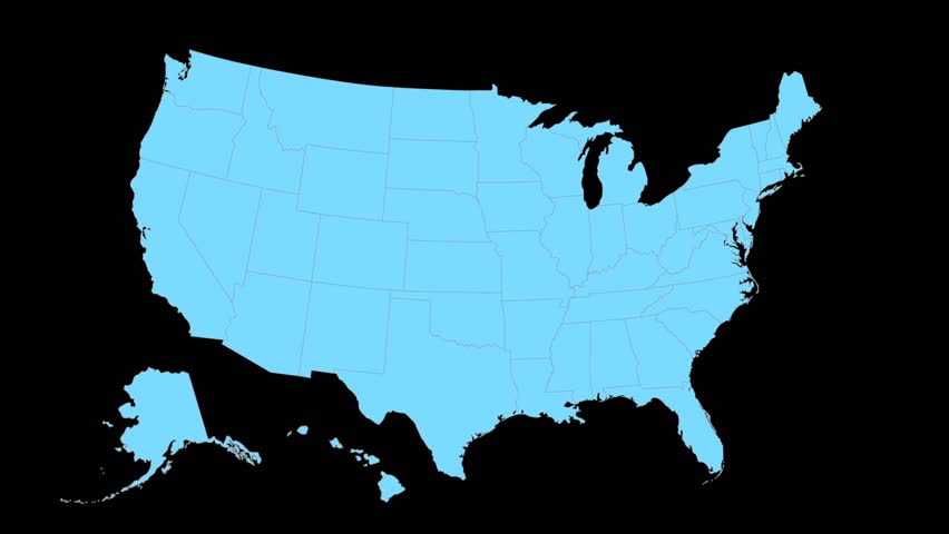 Alaska Animated Map Video Starts With Light Blue Usa National Map With State Border Lines A Yellow Alaska Map Zooms Out To Fill Center Of Screen