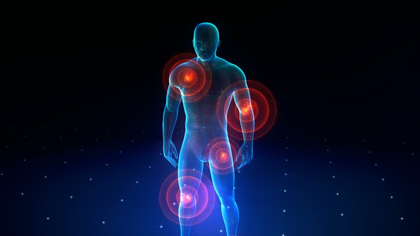 Human body with a visible pains. Human body with a visible pains in various configurations. 5 Configurations in FULL HD. | Shutterstock HD Video #6269240