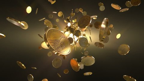 Flight Coins Loopable Background. High quality flight dolar coins- loopable background