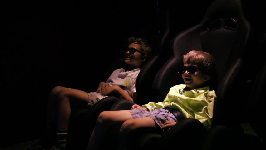 Kids In 3d Stereo Glasses Watching 5D Movie