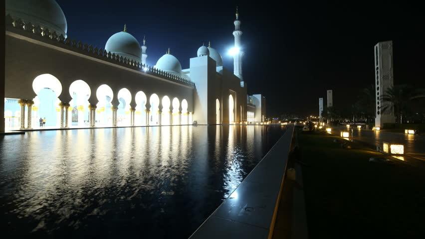 night light mosque 4k time lapse from abu dhabi uae