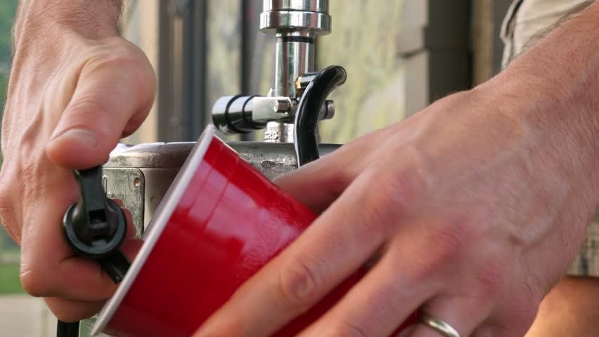 Freshly Tapped Beer Keg Serving Ale (Ultra High Definition)