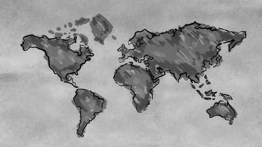 World map sketching looping animation black and white 4k resolution ultra hd