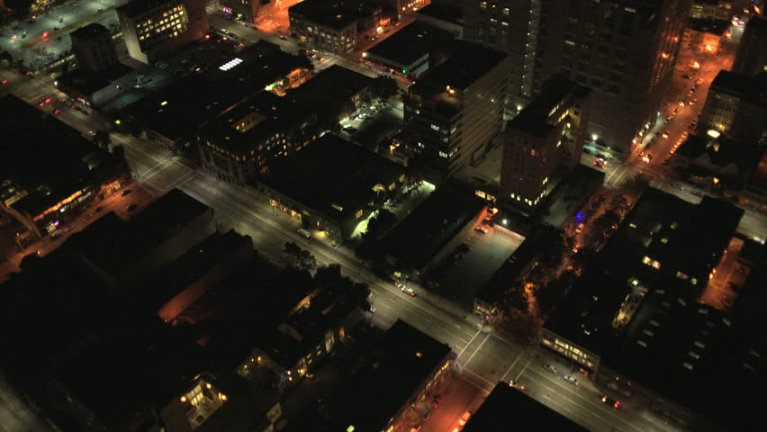 Aerial overhead night rooftop view districts, San Francisco, USA - Aerial low level overhead night illuminated rooftop view commercial districts, San Francisco, California, USA shot in 4K UHD | Shutterstock HD Video #6310679
