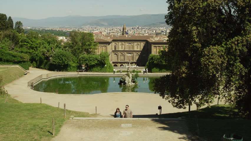 Medium Shot Couple walking up steps in Boboli Gardens / Florence, Tuscany, Italy #6320753