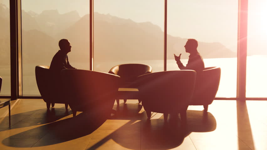 Business Discussion Talking Silhouette Background Handshake Company Career Corporate Cooperation