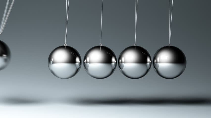 4K Newton's cradle. seamless looped 3d animation, two views