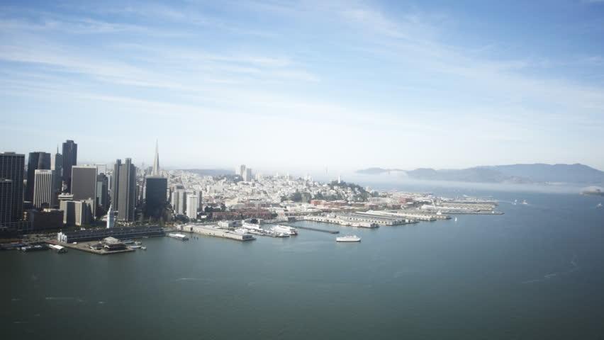 Aerial view over the San Francisco Bay, San Francisco, North California, USA. | Shutterstock HD Video #6405809