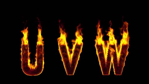 fire U V W letters isolated on black background. Alpha-channel included
