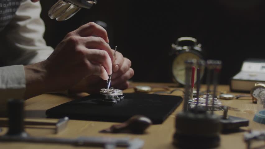 Old Stopwatch Clock Gears Mechanism 4k stock footage time
