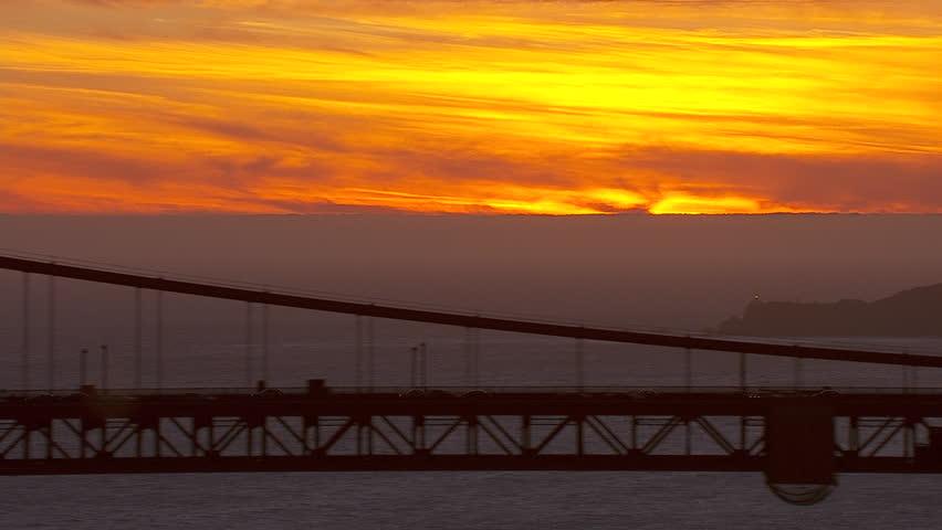Golden Gate Bridge Sunset. Aerial shot of a sunset over the golden gate bridge.