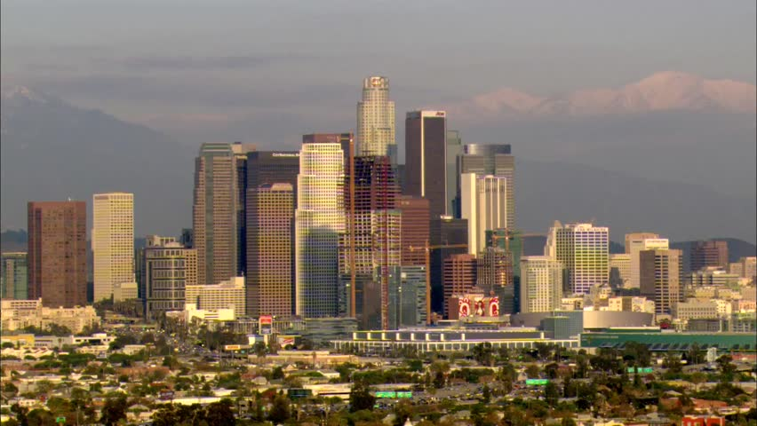 Los Angeles California Downtown. The skyscrapers and business district of downtown Los Angeles, California. The high view depicts the towering buildings grouped in the middle of the busy city. | Shutterstock HD Video #6442949