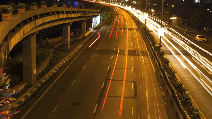 Mumbai marine drive timelapse of night traffic