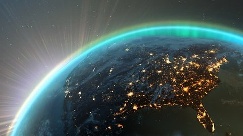 New highly detailed earth. America zone with aurora, night time and sunrise from space. 3D Render using satellite imagery (NASA).