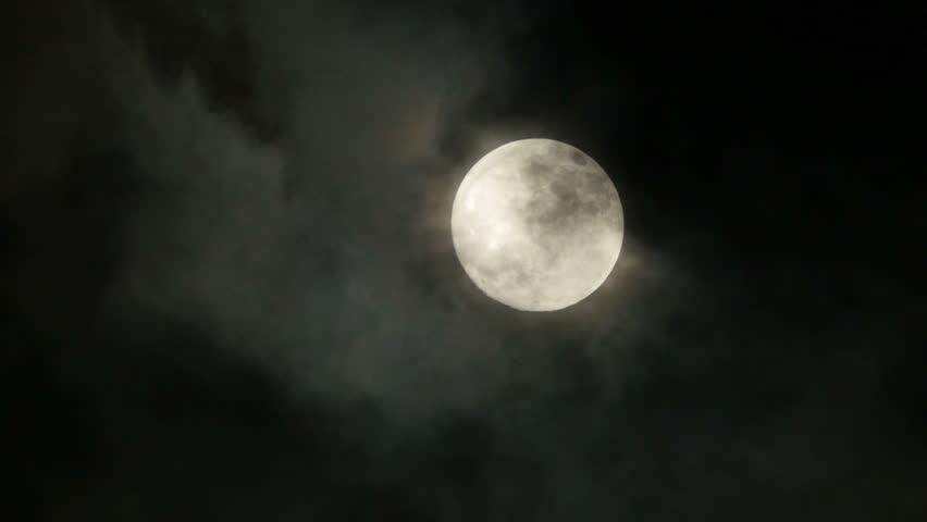 Full moon. night sky. moonlight. clouds. darkness. spooky scary. mystic mystery.  3840x2160. 4k | Shutterstock HD Video #6500603