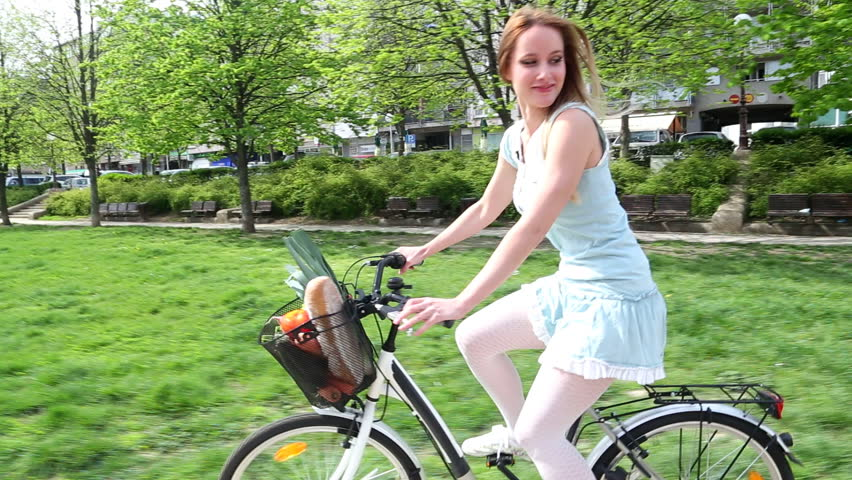 Young Beautiful Girl Riding Bike Stock Footage Video 100 Royalty-Free 6526709 -1427