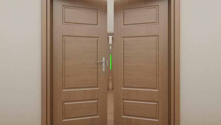 pass enfilade open 7 doors green screen hd stock footage clip