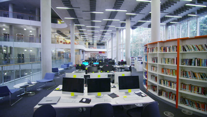 Interior View Of The Library In A Large Modern University Building ...
