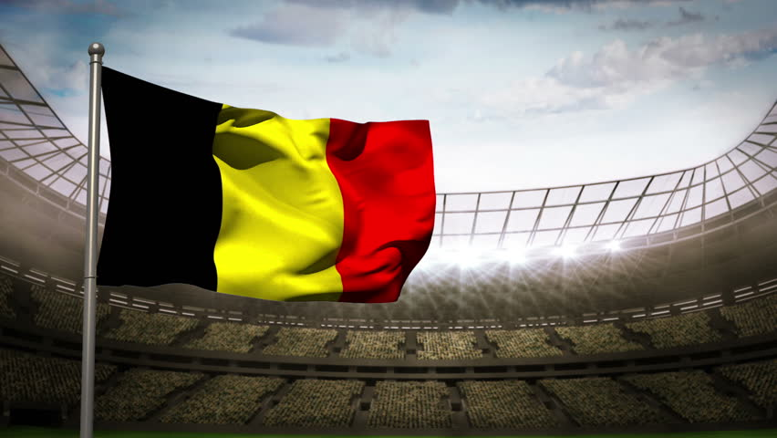 Belgium national flag waving on flagpole in football stadium with flashes | Shutterstock HD Video #6563309
