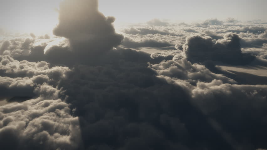 (1146) Dramatic High Altitude Clouds Aerial Flight. Themes of spirituality, leadership, travel, meditation, inspiration, happiness, future, visionary, seasons, summer, weather