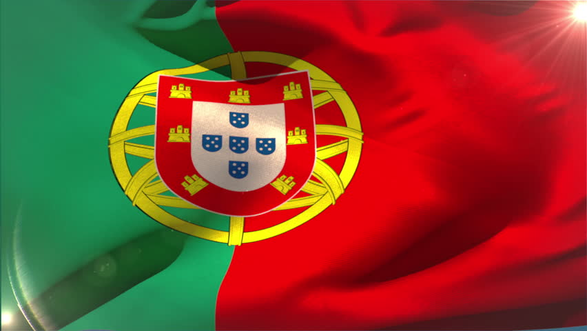 Large portugal national flag waving with lens flare | Shutterstock HD Video #6567659