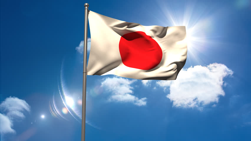 Japan National Flag Waving On Stock Footage Video (100% ...