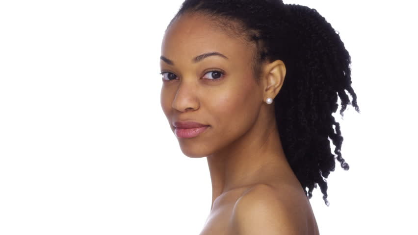 Seductive African American woman with parted lips - Buy