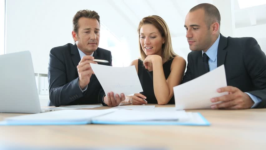 Business People Meeting Around Table Stock Footage Video ...
