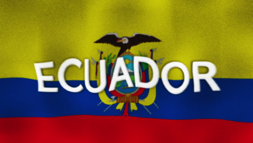 Abstract Moving Ecuador Flag Particle On White Background Flags - Ecuador flags
