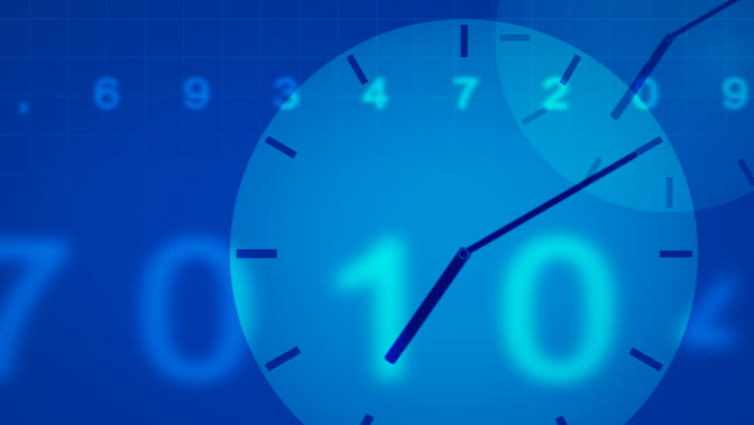 Blue round clocks move toward the viewer, crossed with moving numbers. Seamless loop. HD