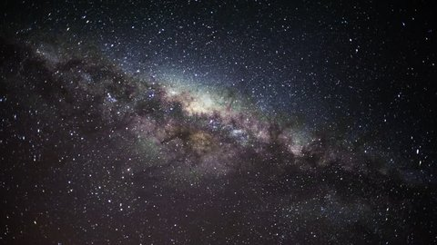 Static timelapse of the Milky Way in the Southern Hemisphere showing Scorpius as the Milky Way sets from right to left until out of the frame, mid winter, with a few meteorites.