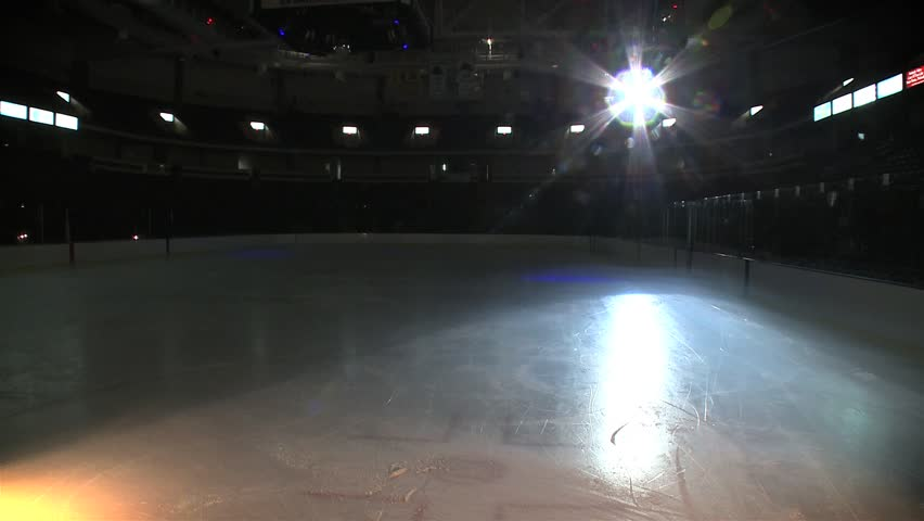 Stock Video Of Empty Ice Skating Hockey Rink Jib 6687659