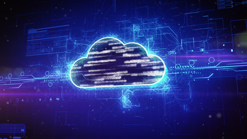 Abstract animation of a binary cloud in digital cyber space