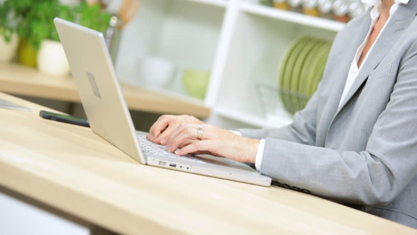 Hands Blonde Caucasian Businesswoman Working Home Laptop News Success - Smart young blonde Caucasian businesswoman hands | Shutterstock HD Video #6700517