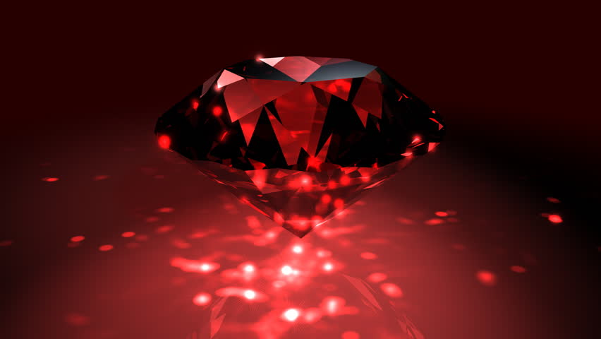 Red Spinning Shiny Diamond - Diamond 02 (HD) - Motion background in red with spinning shining diamond. Nice reflections and highlights. Seamless loop.