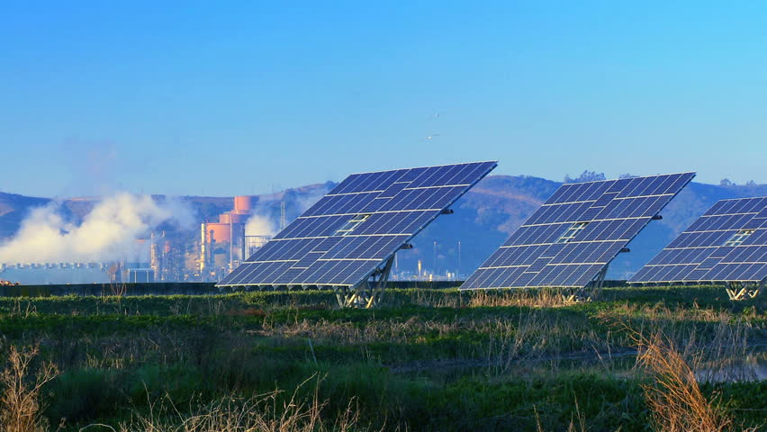 Solar power plant producing sustainable energy from photovoltaic solar panels